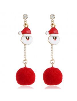 Hair Ball Pendant Santa Claus Red Earrings