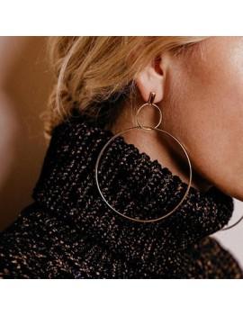 Women's Circle Shape Gold Metal Earrings