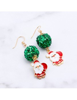 Christmas Snowman Pendant Sequin Embellished Earrings