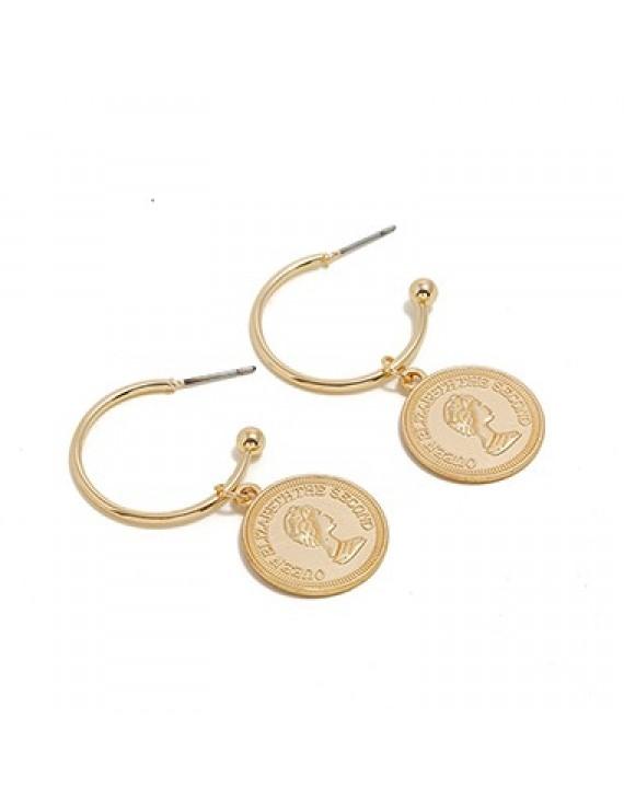 Coin Pendant Gold Metal Character Design Earring Set