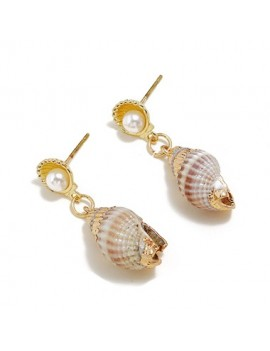 Conch Shape Gold Metal Earring Set