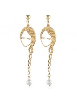 Head Shape Faux Pearl Embellished Gold Metal Earrings