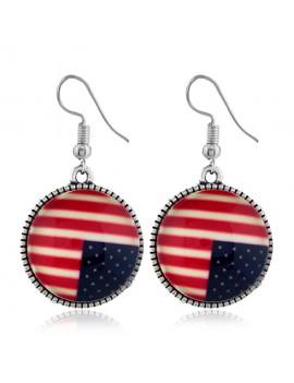 Round Shape American Flag Design Earrings