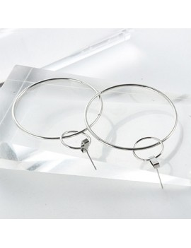 Circle Shape Silver Metal Earrings for Women