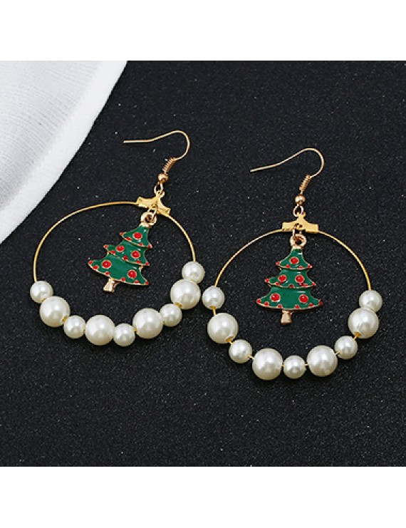 Christmas Tree and Faux Pearl Pendant Gold Metal Earrings