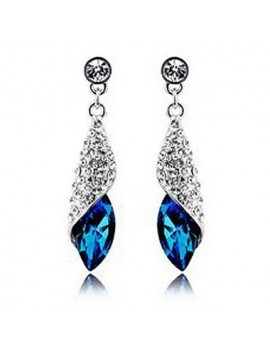 Rhinestone Decorated Silver Metal Blue Earrings