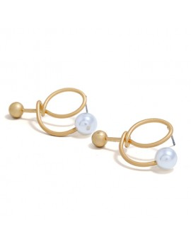 Faux Pearl Embellished Gold Metal Earrings