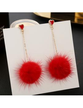 Pom Pom Pendant Metal Chain Red Earring Set