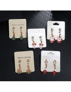 Gold Metal Christmas Tree Shape Pearl Embellished Earring Set