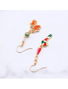 Glove and Candy Cane Pendant Gold Metal Earrings