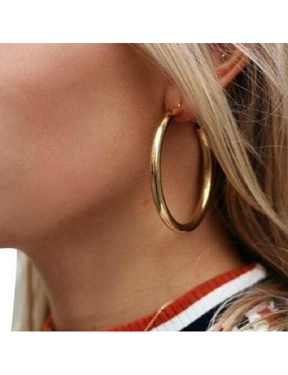 Circle Shape Gold Metal Earrings for Lady