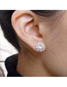 Woman Sunflower Shape Rhinstone Ear Stud