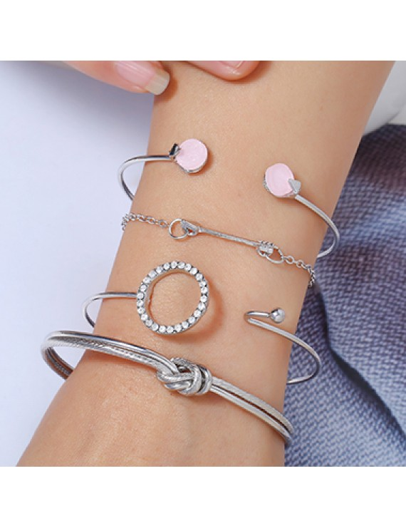 Arrow Shape Silver Metal Rhinestone Embellished Bracelet Set