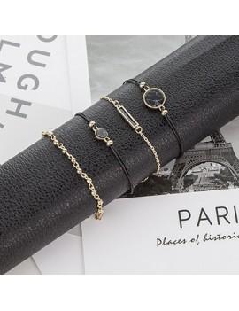 Gold Metal Circle Design Bracelet Set