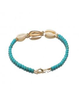 Bead Embellished Seashell Design Turquoise Bracelet