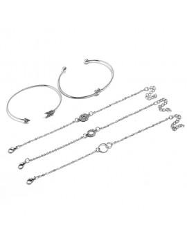 Knot Design Silver Metal Bracelet Set