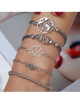 Heart Shape Silver Metal Bracelet Set