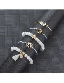 Gold Metal Bead Embellished Tortoise Shape Bracelet Set