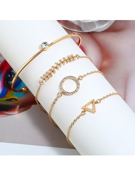 Rhinestone Embellished Circle Shaped Gold Metal Bracelet Set