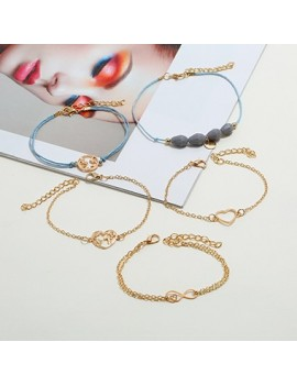 Heart Shape Gold Metal Bracelet Set