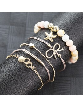 Bead Embellished Bowknot Design Gold Metal Bracelet Set