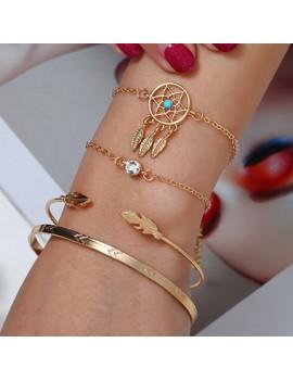 Dream Catcher Design Gold Metal Bracelet Set