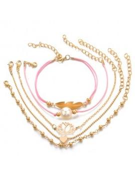 Faux Pearl Decorated Gold Metal Bracelet Set