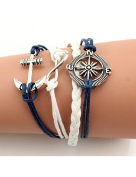 Anchor and Helm Decorated Faux Leather Braided Bracelet