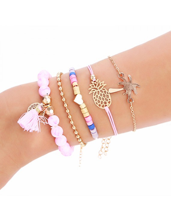 5pcs Pineapple and Tassel Detail Bead Bracelets