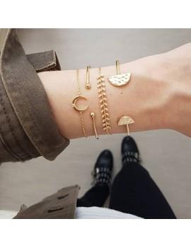 Moon Shape Gold Metal Bracelet Set