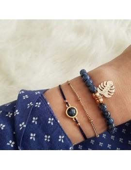 Leaf Shaped Gold Metal Bracelet Set