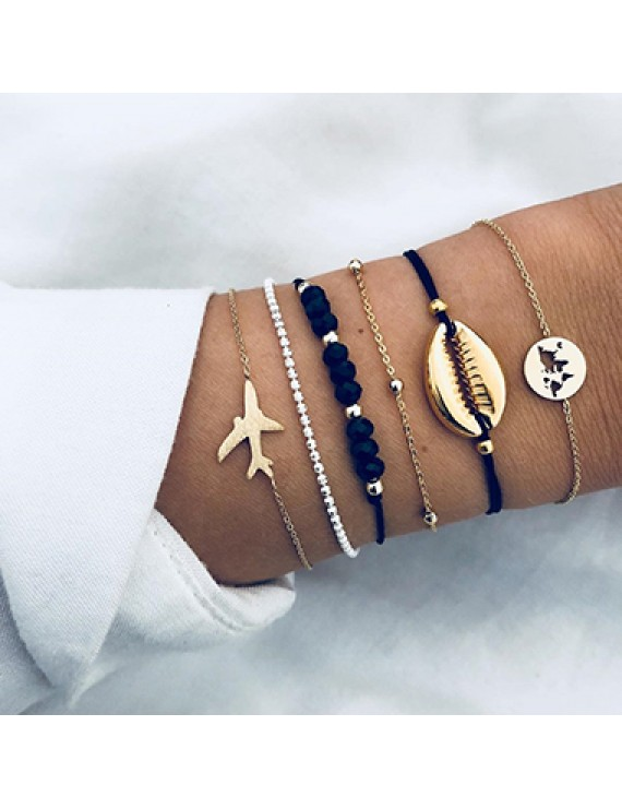 Airplane and Seashell Shaped Bracelet Set