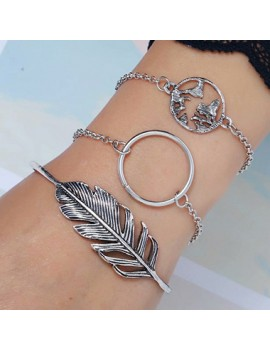 Feather and Circle Shape Silver Metal Bracelet Set