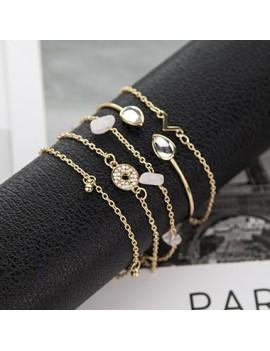 Rhinestone Detail Gold Metail Bracelet Set