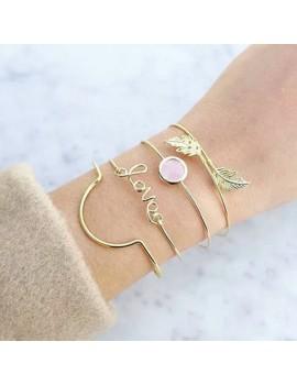 Letter Shape Open Cuff Metal Bracelet Set