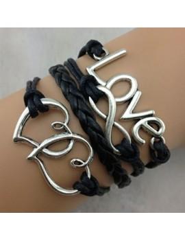Black Love and Infinity Shape Embellished Braided Bracelet