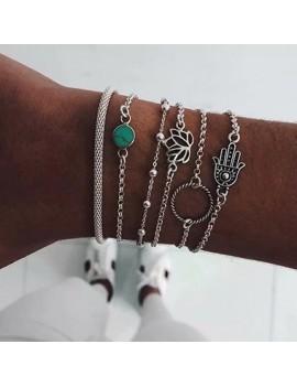 Fish Design Silver Metal Bracelet Set