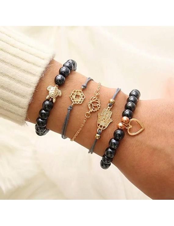 Bead Embellished Lotus Design Bracelet Set