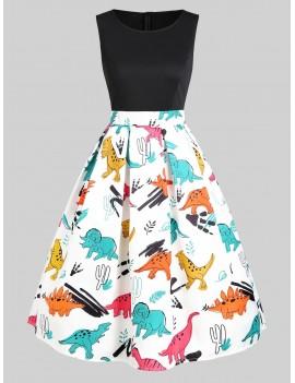 Dinosaur Print Sleeveless A Line Dress -  S