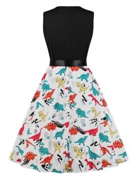 Dinosaur Print Sleeveless Vintage Dress -  2xl