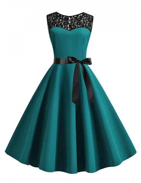 Retro Sleeveless Lace Insert Pin Up Dress - Dark Turquoise S