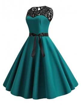 Retro Sleeveless Lace Insert Pin Up Dress - Dark Turquoise S