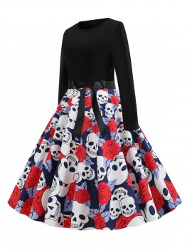 Halloween Long Sleeve A Line Dress - Multi-a L