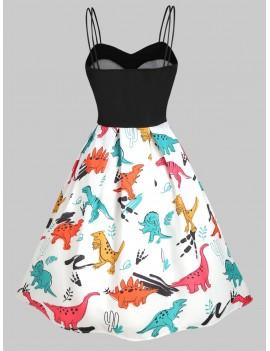 Dinosaur Cami Empire Waist Dress - White S