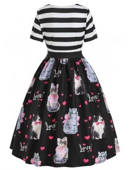 Cat Print A Line Vintage Dress -  S