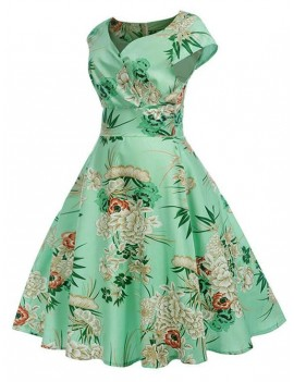 Floral Print Surplice A Line Dress - Algae Green M