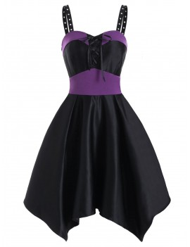 Grommet Two Tone Lace Up Asymmetrical Dress - Dark Orchid S