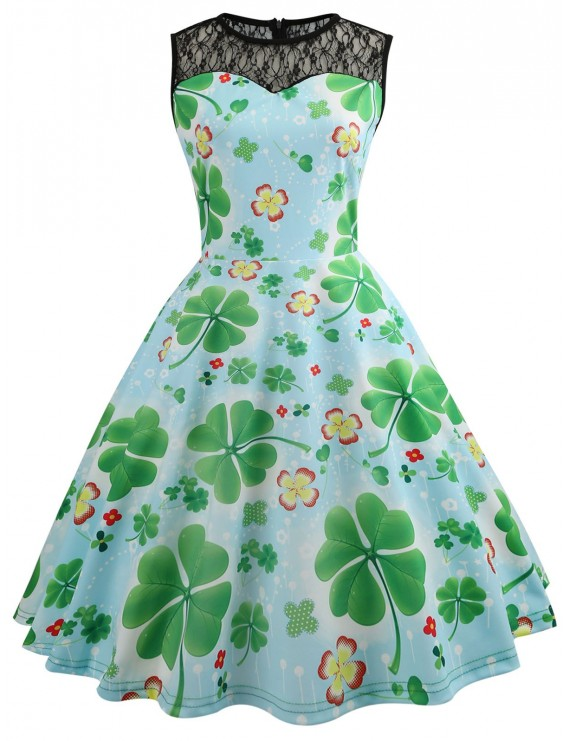 Lace Panel Leaves Print Flare Dress - Clover Green M