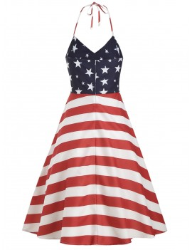 High Waist American Flag Print Halter Dress -  S