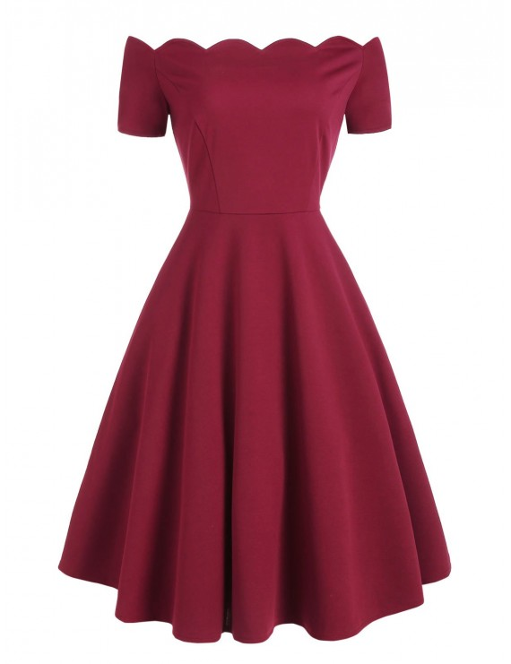 Scalloped Off The Shoulder Flare Dress - Red Wine Xl